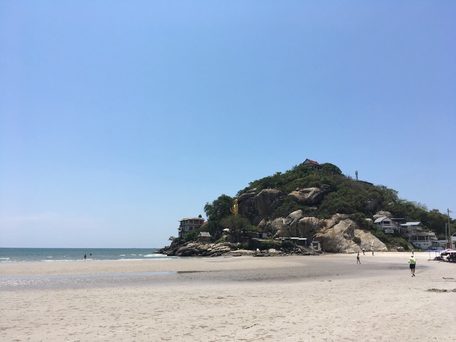 Khao Takiab beach, Hua Hin, Thailand, with Golden Mount