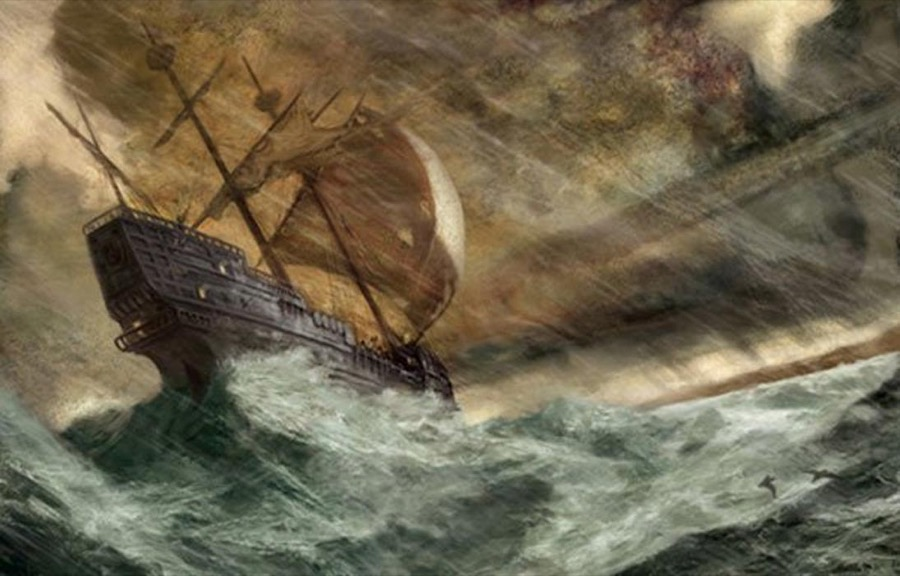 Ship in a storm.